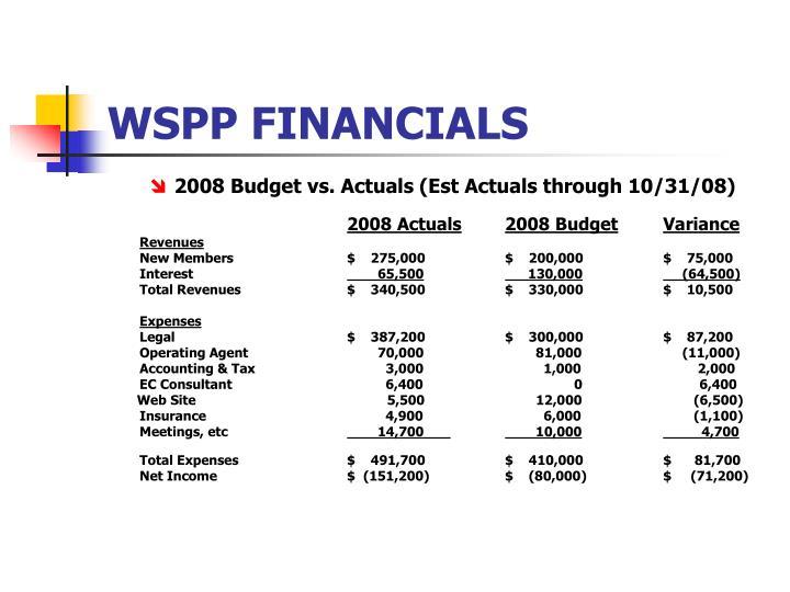 WSPP FINANCIALS