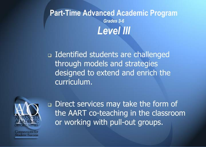 Part-Time Advanced Academic Program