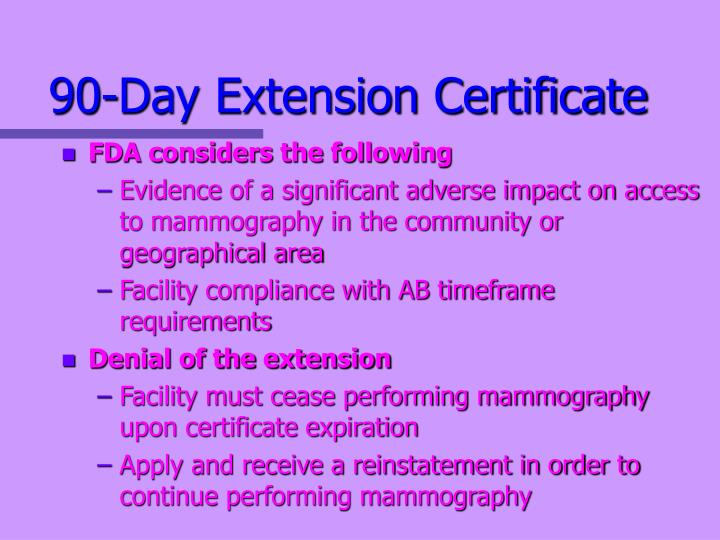 90-Day Extension Certificate