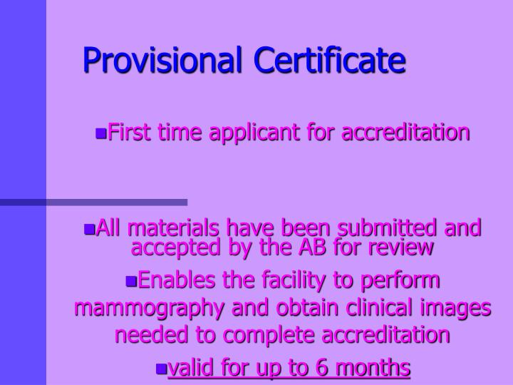 Provisional Certificate