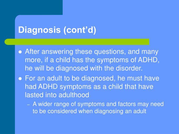 Diagnosis (cont'd)
