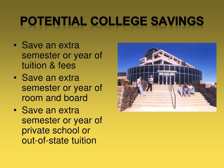 POTENTIAL COLLEGE SAVINGS