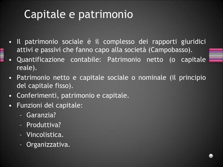 Capitale e patrimonio