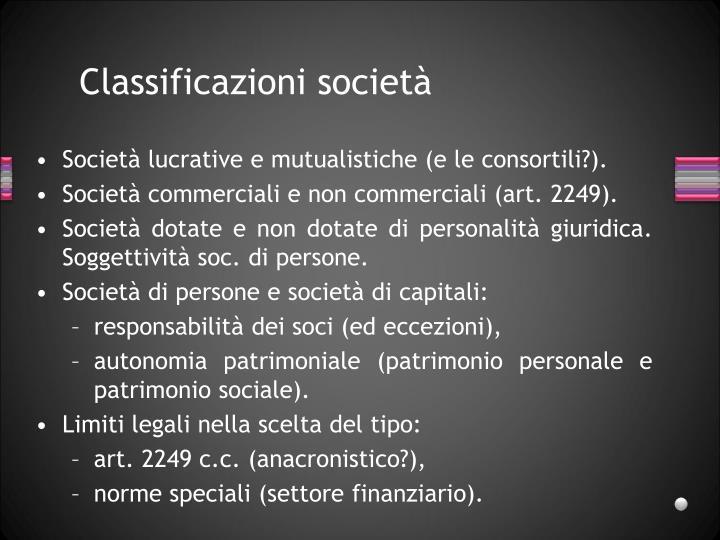 Classificazioni società