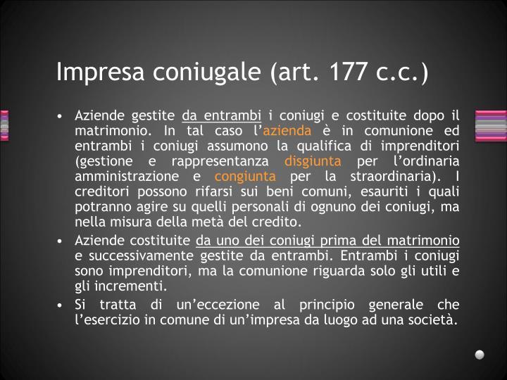 Impresa coniugale (art. 177 c.c.)