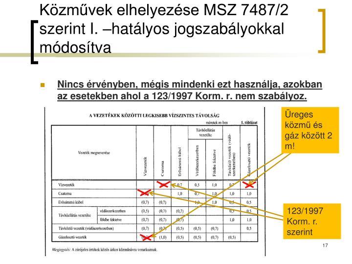 Közművek elhelyezése MSZ 7487/2 szerint I. –hatályos jogszabályokkal módosítva