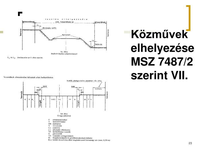 Közművek elhelyezése MSZ 7487/2 szerint VII.