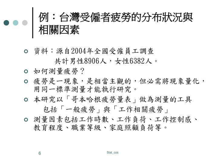 例:台灣受僱者疲勞的分布狀況與相關因素