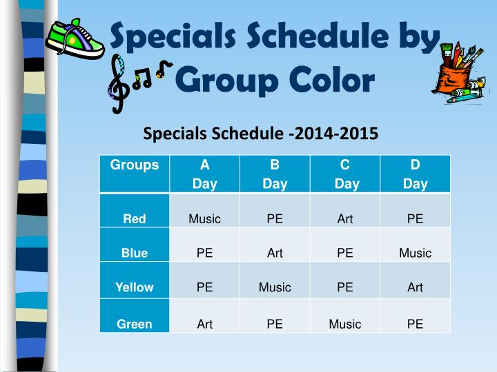 Specials schedule by group color