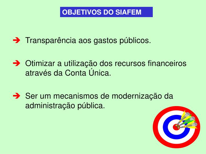 OBJETIVOS DO SIAFEM