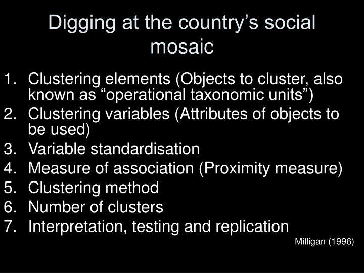 Digging at the country's social mosaic