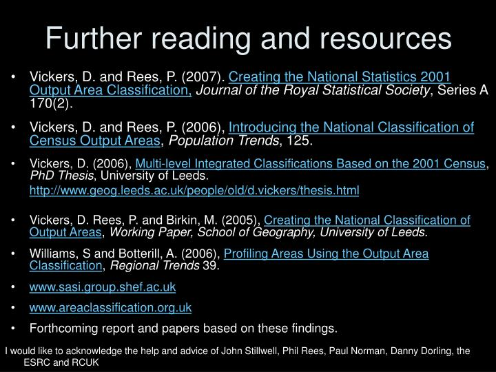 Further reading and resources