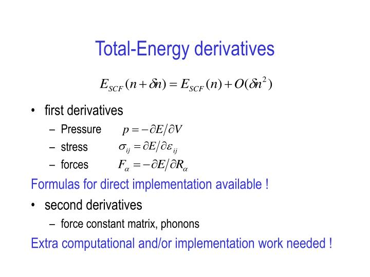 Total-Energy derivatives