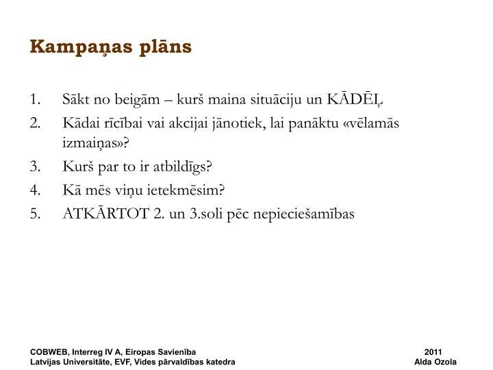 Kampaņas plāns