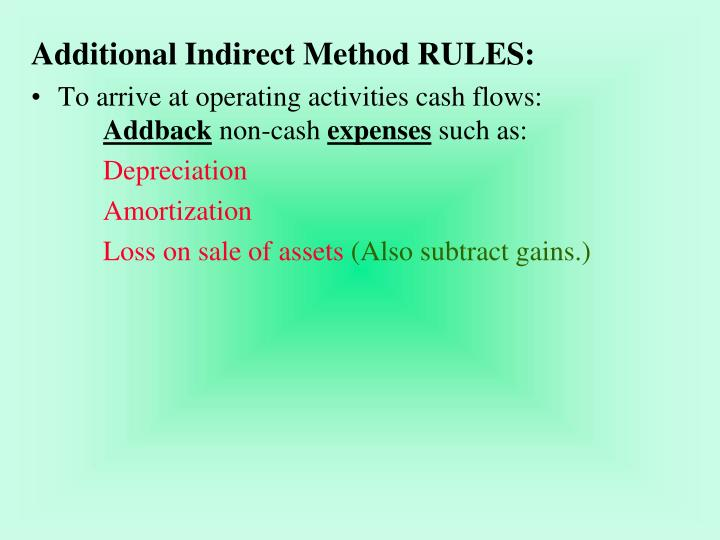 Additional Indirect Method RULES: