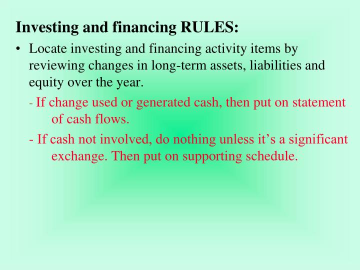 Investing and financing RULES: