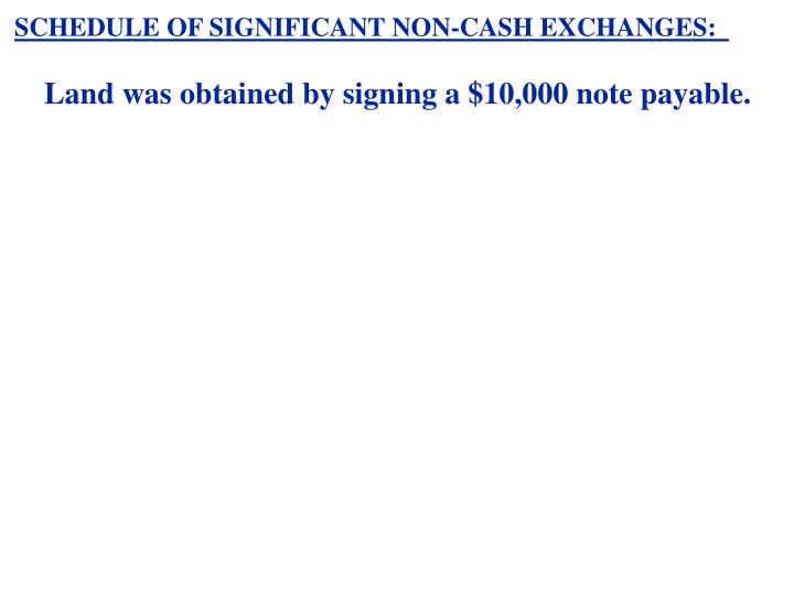 SCHEDULE OF SIGNIFICANT NON-CASH EXCHANGES: