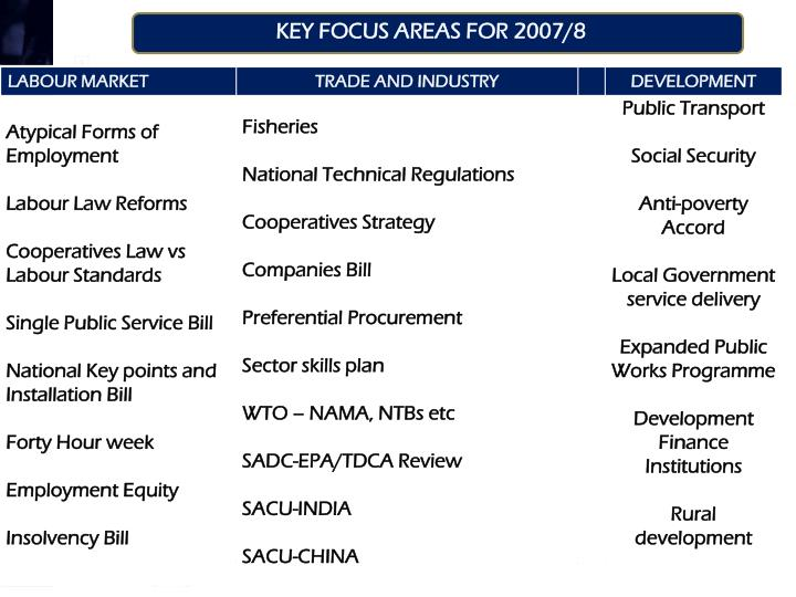 KEY FOCUS AREAS FOR 2007/8