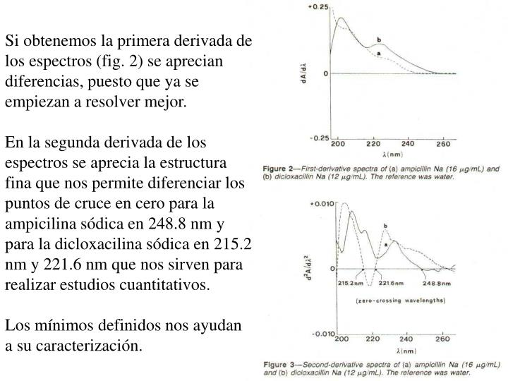 Si obtenemos la primera derivada de los espectros (fig. 2) se aprecian diferencias, puesto que ya se empiezan a resolver mejor.