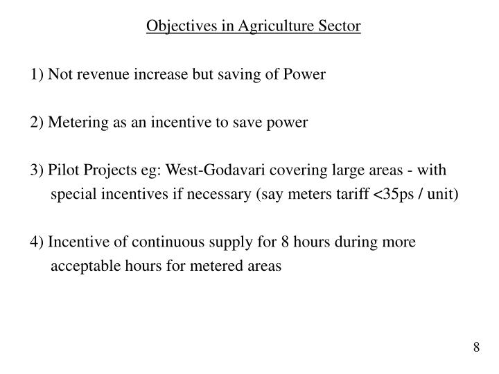 Objectives in Agriculture Sector