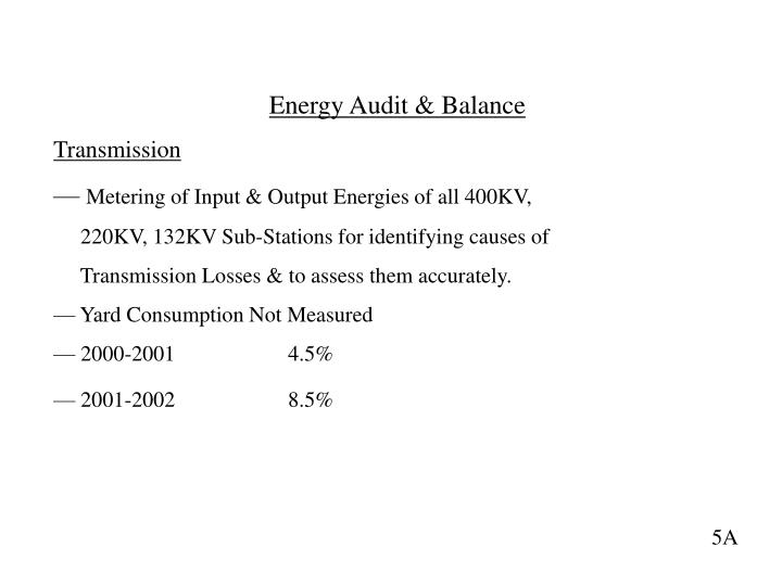 Energy Audit & Balance