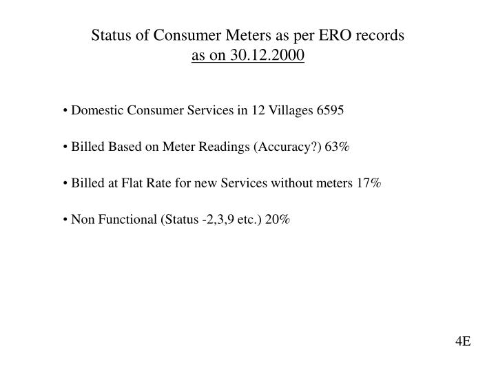 Status of Consumer Meters as per ERO records