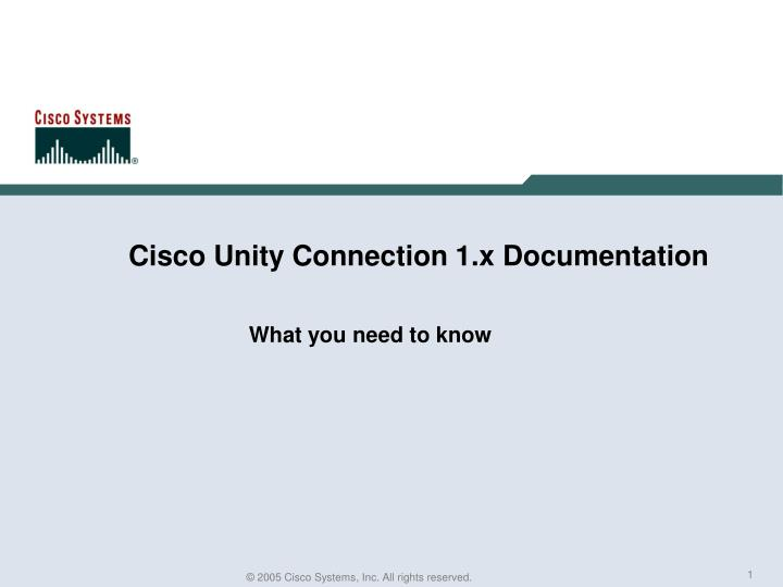 Cisco unity connection 1 x documentation