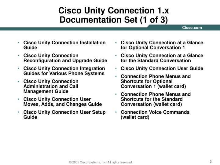 Cisco unity connection 1 x documentation set 1 of 3