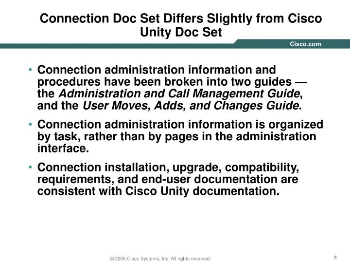 Connection Doc Set Differs Slightly from Cisco Unity Doc Set