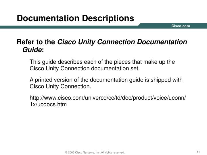 Documentation Descriptions