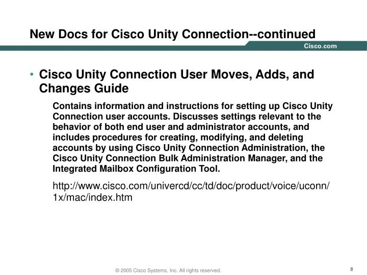 New Docs for Cisco Unity Connection--continued