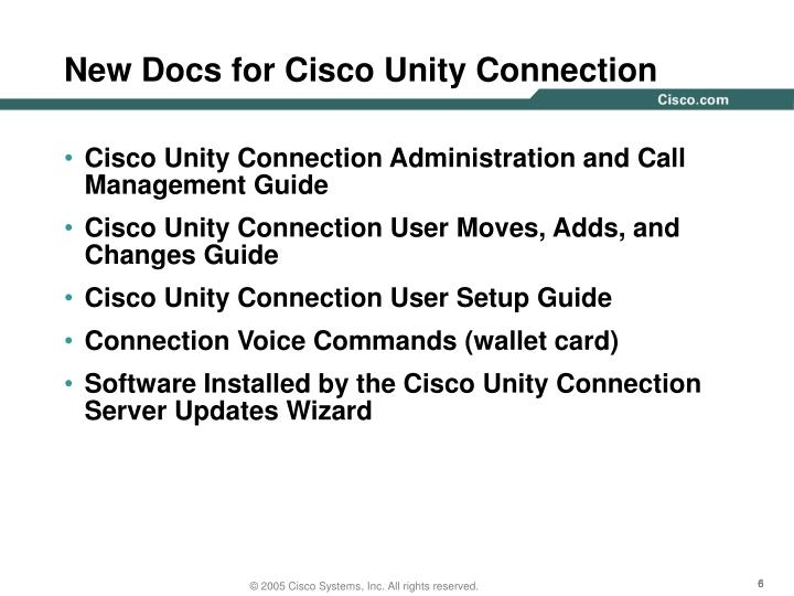 New Docs for Cisco Unity Connection