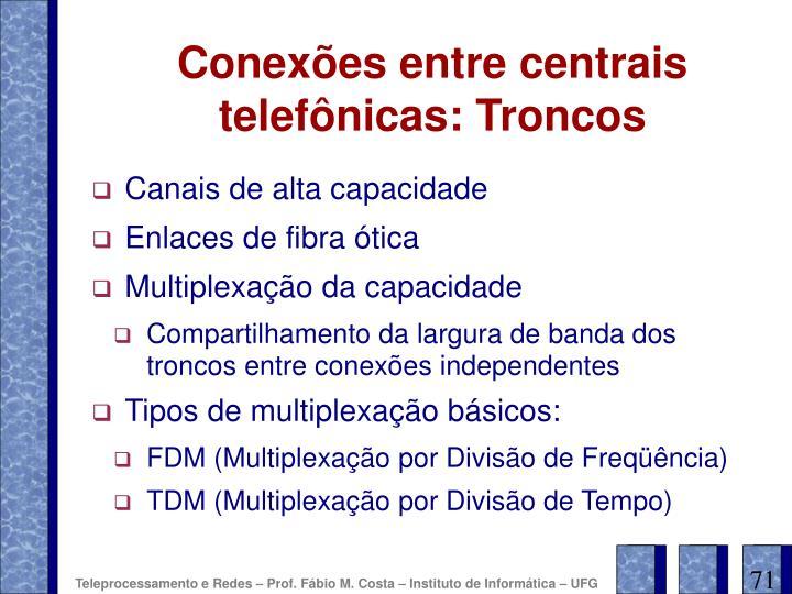 Conexões entre centrais telefônicas: Troncos
