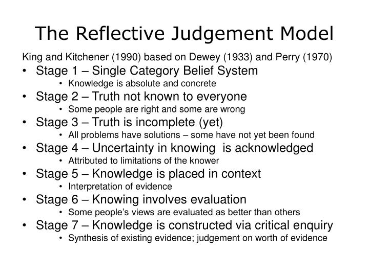 The Reflective Judgement Model