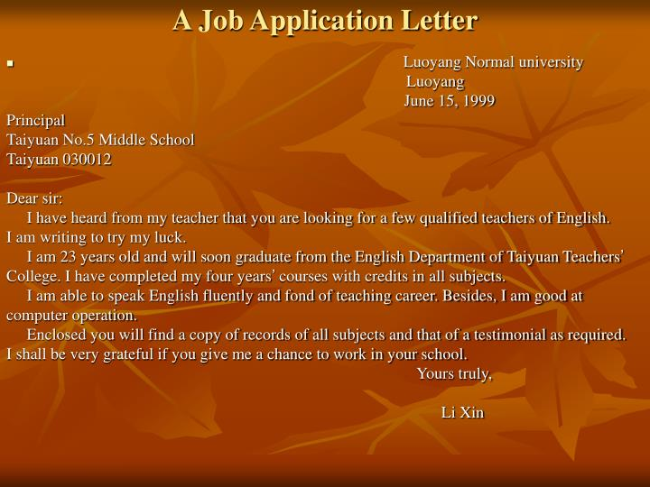 A Job Application Letter
