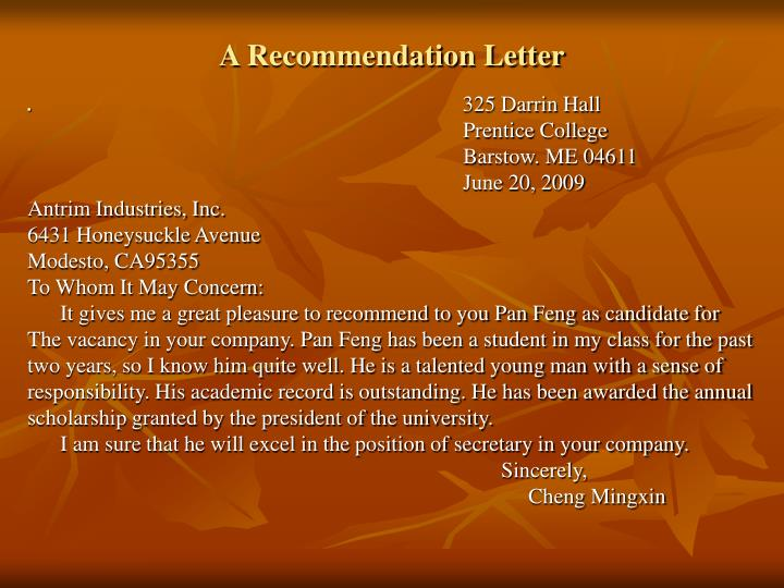 A Recommendation Letter