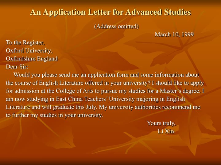 An Application Letter for Advanced Studies