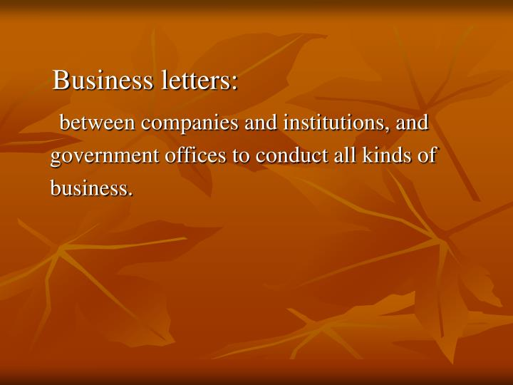 Business letters: