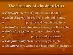 the structure of a business letter
