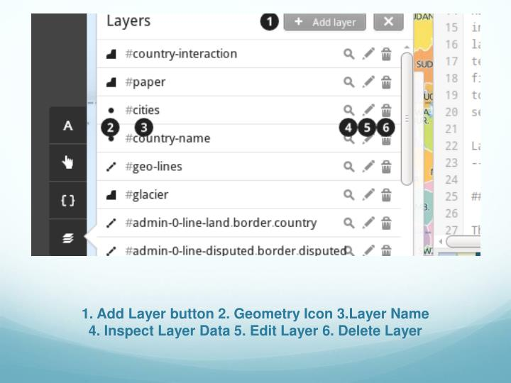 1. Add Layer button 2. Geometry Icon 3.Layer Name