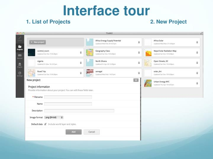Interface tour
