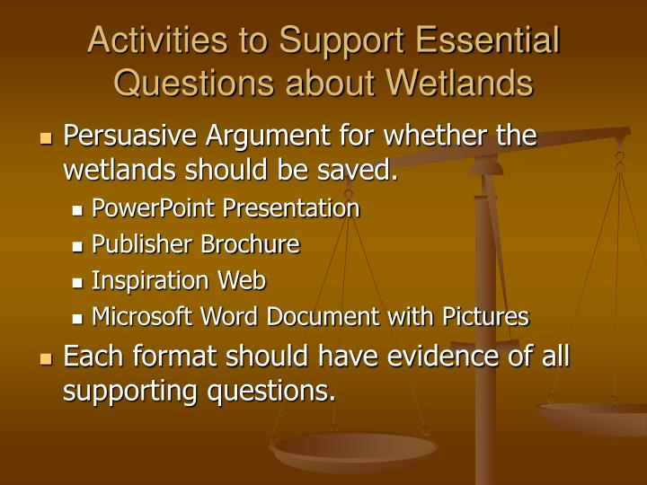 Activities to Support Essential Questions about Wetlands