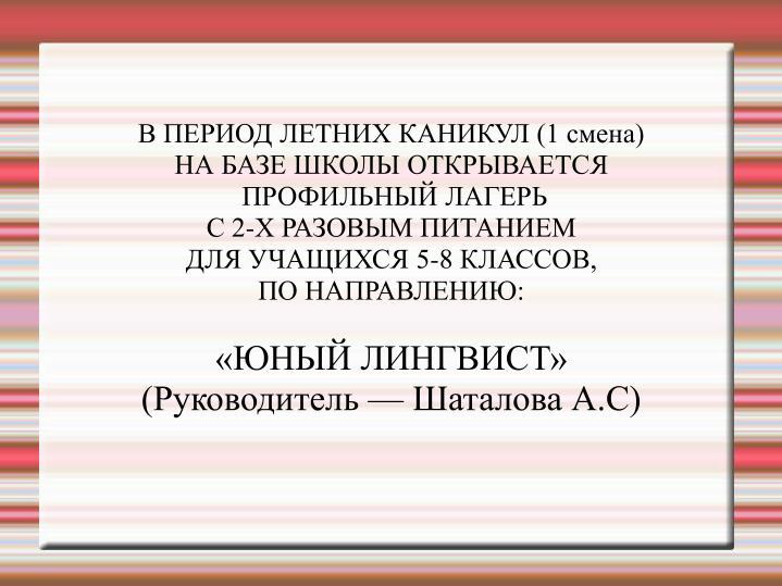 В ПЕРИОД ЛЕТНИХ КАНИКУЛ (1 смена)