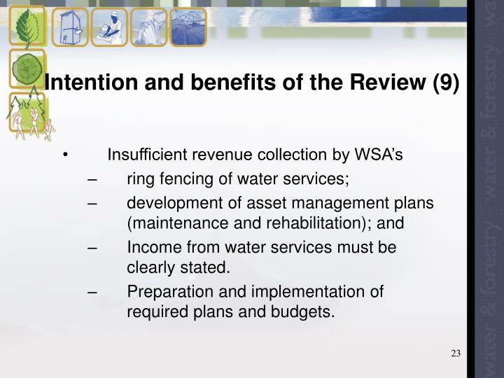 Intention and benefits of the Review (9)