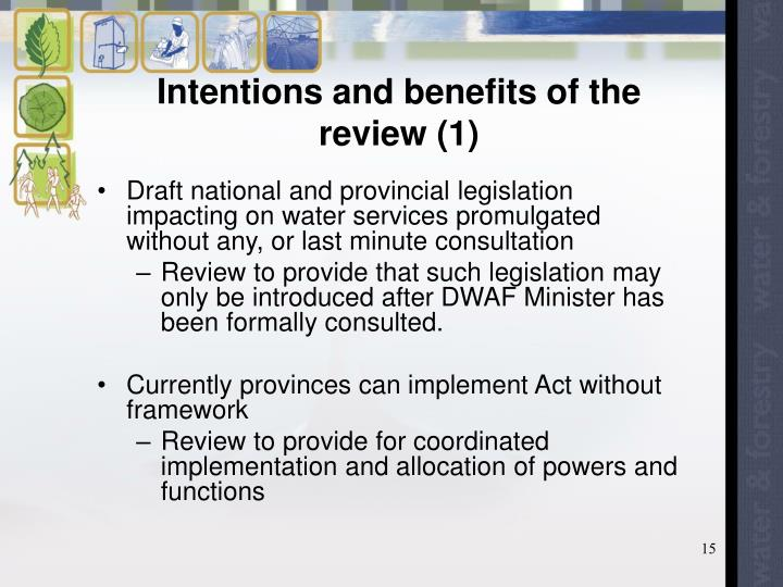 Intentions and benefits of the review (1)