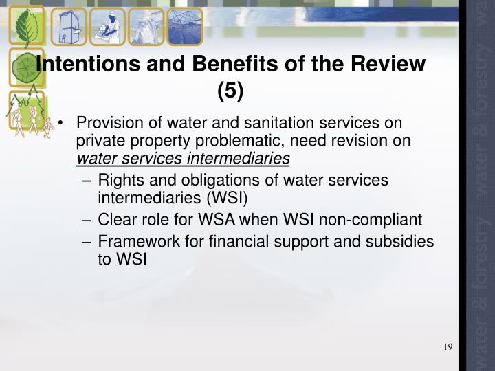 Intentions and Benefits of the Review (5)