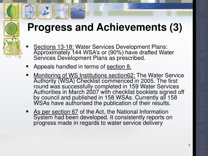 Progress and Achievements (3)