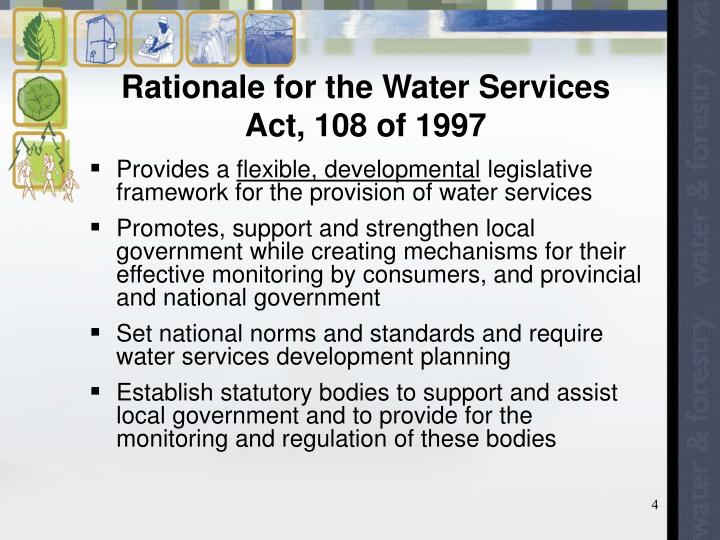 Rationale for the Water Services Act, 108 of 1997