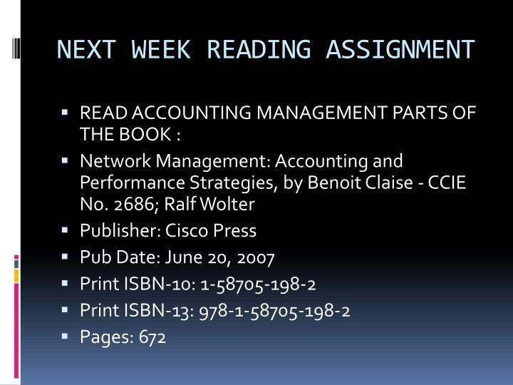 NEXT WEEK READING ASSIGNMENT