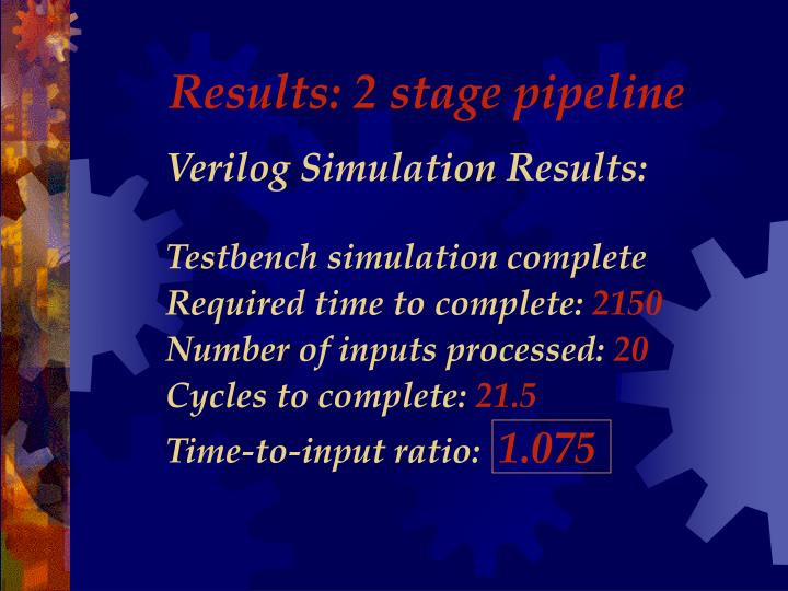 Results: 2 stage pipeline